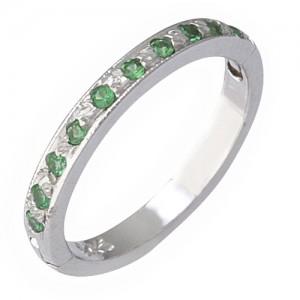 14k White Gold Green Garnet (Tsavorite) Toe Ring