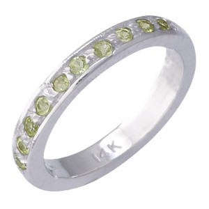 14k White Gold Peridot Toe Ring
