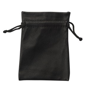 Black Leatherette Drawstring Pouches in Onyx