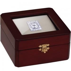 Stone Display Box - Cherry Wood Finish with Reversible Inserts (White/Black)