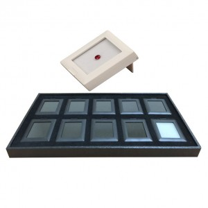 """10 Glass-Top White 2.88 x 2.25"""" Glass-Top Gem Boxes Inserts in Plastic Trays, 14.75"""" L x 8.25"""" W"""