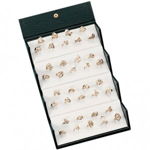 36-Rings (Clip) Leather Folder Box - Embossed Ostrich Pattern Finish