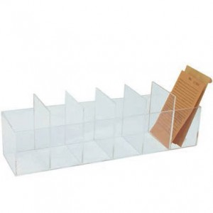 "Acrylic Repair Envelope Trays w/5 Removable Dividers, 3.25"" L x 14.75"" W"