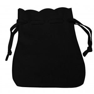 Black Microsuede Drawstring Pouches