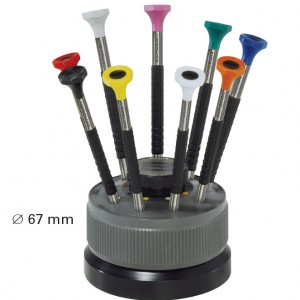 a a jewelry supply watchmaker screwdrivers set on rotating stand 9 stainless steel screwdrivers. Black Bedroom Furniture Sets. Home Design Ideas