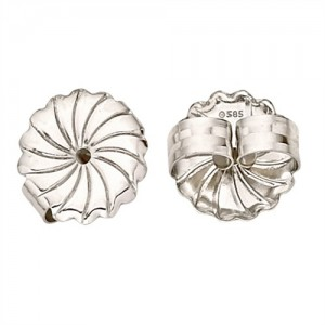 "18k White Jumbo Earring Back, .030""-.040"" Hole"
