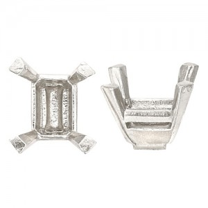 Platinum Emerald Cut Setting No Peg