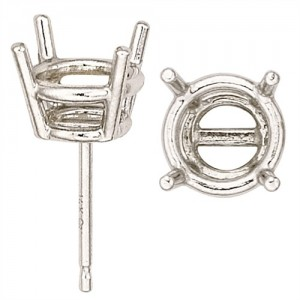 Platinum Round Double Wire Friction Back Earring