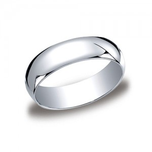 Platinum Half Round Band 6 mm