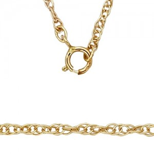 14K Yellow 1.3mm Carded Machine Rope Chain