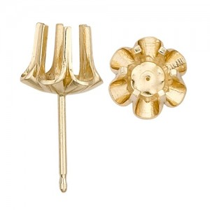 14k Yellow Buttercup Friction Post Earring