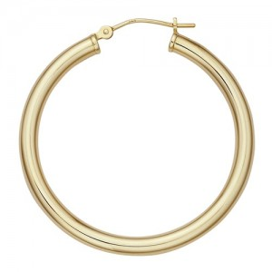 14k Yellow Hinged Hoop Earring 3.0mm Thickness