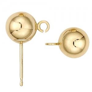 14k Yellow Shiny Ball Earring w/ Ring