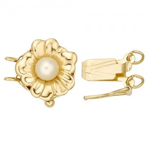 Round 2-Strand Flower Clasp w/ Pearl, 14k Yellow Gold