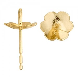 14k Yellow Pearl Earring  Fluted Pad