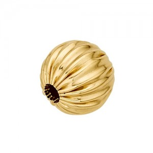 14k Yellow Straight Corrugated Round Bead