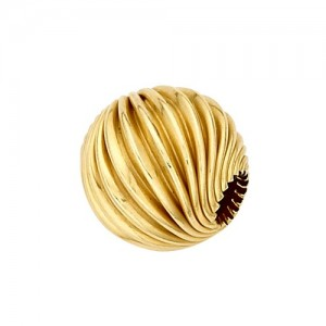 14k Yellow Twisted Round Corrugated Bead
