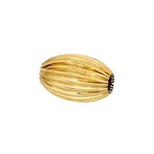 14k Yellow Straight Corrugated Oval Bead