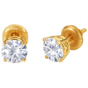 14k Yellow 4-Prong Double Wire Screw Earrings