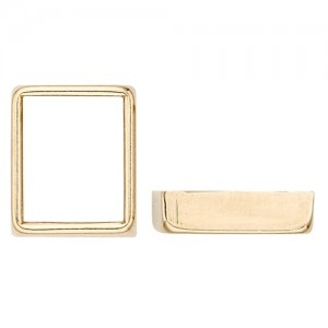 14k Yellow Gold Rectangle Bezel  Non-Faceted