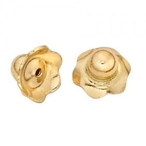 "14k Yellow Child Safe Screw Earring Back, .031""-Hole"