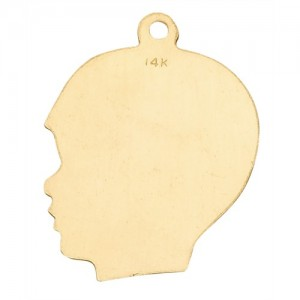 14K Yellow Boy Head Profile
