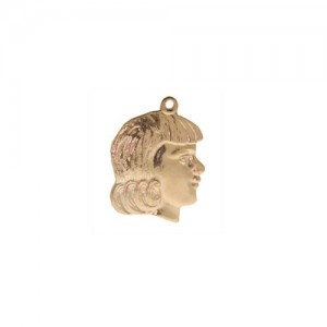 14K Yellow Girl Head Profile, Charm