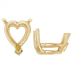 14k Yellow Heart Shape 3-Prong Double Wire Setting