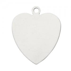 14K White Heart Shape Blank Disk, 6.5 x 6.5mm