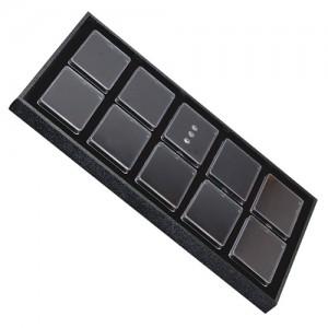 "10 Acrylic 3 x 2.25"" Gem Jars Inserts in Wood Trays, 14.75"" L x 8.25"" W"