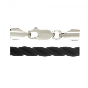 4.0 mm Twisted Black Rubber Neck w/ Sterling Silver Lobster Clasp