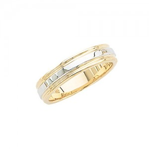 14k 2-Tone Gold Wedding Band 5 mm