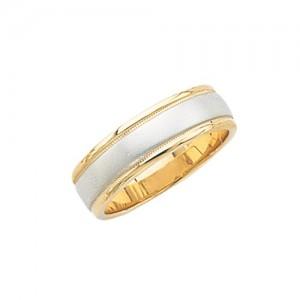 14k 2-Tone Gold Wedding Band Brushed Finish Center 6 mm