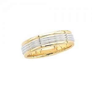 14k 2-Tone Gold Wedding Band 6 mm