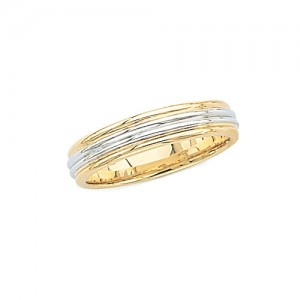 14k 2-Tone Gold Wedding Band 6 mm