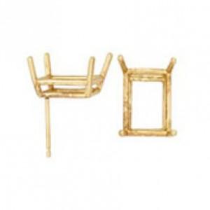 14k Yellow Emerald Cut Double Wire Earrings