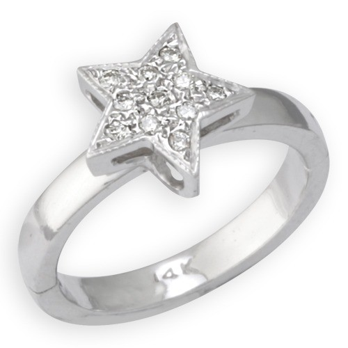 A&A Jewelry Supply - 14k White Gold Star Shape Toe Ring w ...