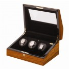"Orbita ""Siena"" Self-Programming 3-Watch Winder in Laquered Teakwood"