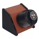 "Orbita ""Sparta Open"" Self-Programming Single Watch Winder in Brown Leatherette"