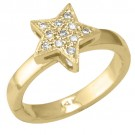 14k Yellow Gold Star Shape Toe Ring w/ Diamond