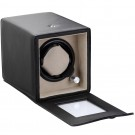 Diplomat Estate Single (1) Watch Winder - Black Leatherette / Tan Suede Interior