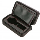 Diplomat 2 Watch Travel Case - Black Leather / Black Suede Interior