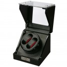Diplomat Double (2) Watch Winder - Black Wood Finish - Carbon Fiber Pattern & Red Accents Interior