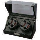 Diplomat Quad (4) Watch Winder - Black Wood / Carbon Fiber Pattern & Bold Red Leatherette Accents Finish