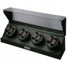 Diplomat Eight (8) Watch Winder - Black Wood Finish / Carbon Fiber Pattern & Red Accents Leatherette Interior