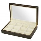 Diplomat 12 Pocket Watch Case - Black Wood Finish / Cream Interior / Clear Top