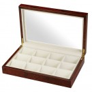 "Diplomat ""Estate"" 12-Cushion Glass-Top Pocket Watch Cases in Burlwood & White"