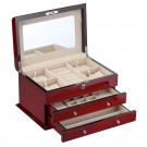 Diplomat High Gloss Cherry Wood Jewelry Chest
