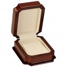 Earring & Pendant Box - Mahogany Wood Finish with Cream Interior