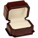 Double Ring Slot Box - Mahogany Wood Finish with Cream Interior